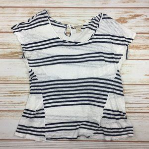 Lucky Brand 100% Linen Striped Loose Top